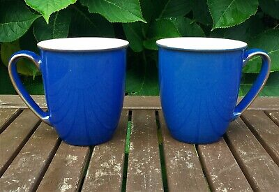 2 Denby Pottery Imperial Blue Coffee Beakers Mugs