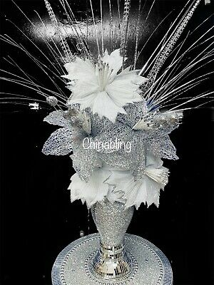 Romany Flower Vase Mosaic Mirrored Silver Italian Blingy Comes With Shown Flower