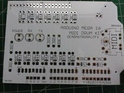 MEGA 16 MIDI DRUM TRIGGER KIT DIY PCB ARDUINO SHIELD (Deadastronautfx)