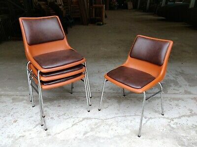Vintage Orange Vinyl Stacking Chairs - Cafe Bar Restaurant - 40 Available