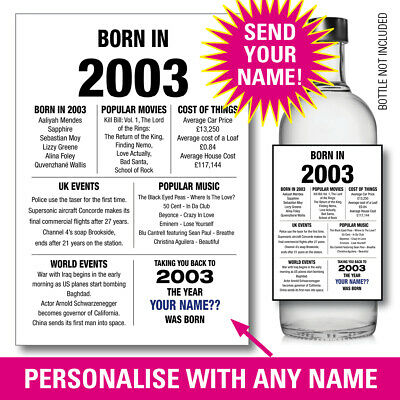 1969 50th PERSONALISED GIN VODKA WINE bottle label birthday Year born Facts 149