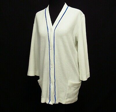 Vintage Terry Cloth Robe Pool Cover Up DeWeese USA Button Front Womens Sz M