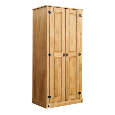 2-door Wardrobe Bedroom Solid Pine Mexican Style Antique Wax Storage Furniture