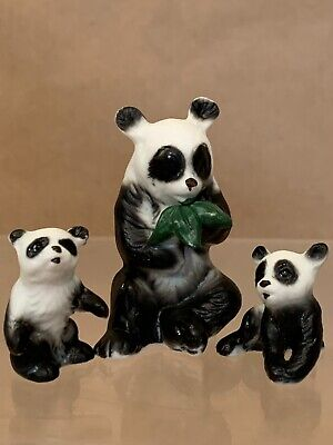 Vintage Japan Bone China Panda Miniature Figurines With Bamboo Lot Of 3