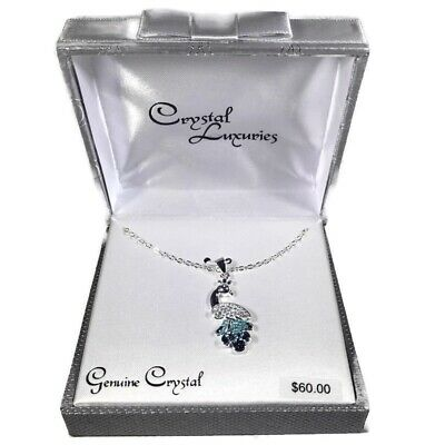 Genuine Crystal Peacock Necklace Silver Blue Green New in Box