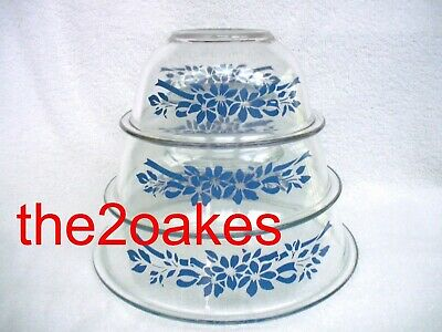 3 pc Pyrex Nesting Mixing Bowl set 322 323 325 Clear Blue Flowers & Ribbons