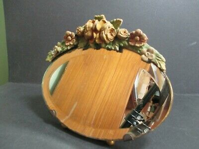 Vintage Oval Barbola Dressing Table Mirror
