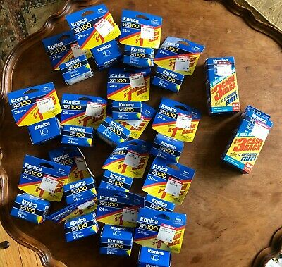 NEW IN BOX Lot of 22 Konica Super XG100 + XG200 Color Film 35mm 24 exp 36 exp