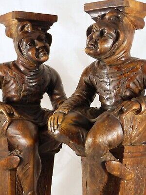 Antique PAIR of Carved Wood Figures/ Candle Stands or Cabinet Supports 1860