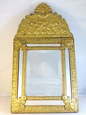 """23"""" Tall Antique 1880 Large French Beveled Mirror Brass Overlay Wood Repousse"""