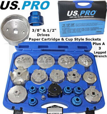 US PRO 5PC 3//8 DR Low Profile Cup Type Filter Wrench Set 3235