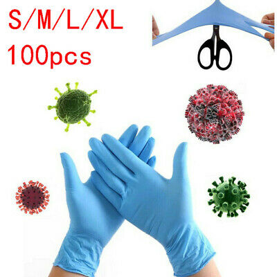 100Pcs Rubber Gloves Disposable Nitrile Durable Mechanic Medical Waterproof Blue