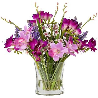 Artificial Pink Purple Freesia Orchid Flower Arrangement Vase Centrepiece Plant