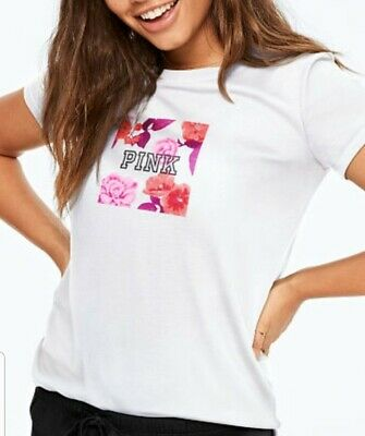 NEW SMALL Victorias Secret PINK CREW NECK TEE ROSES FLORAL WHITE SHIRT TSHIRT
