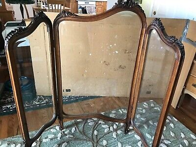 Antique Room Divider, Beveled glass, Privacy Screen, Vintage Partition, French?
