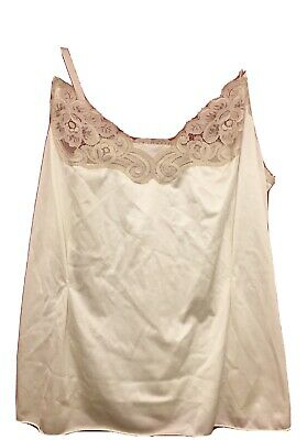 VTG Vanity Fair Beige Camisole with lace Silky Size 36 Made in USA