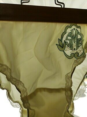 Vtg Silky Satin Lace Nylon Gusset Briefs S Yellow Granny Panties USA Monogram