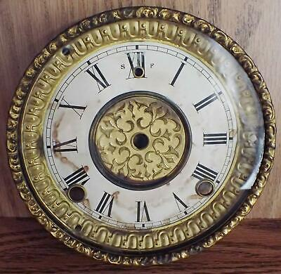 Antique Gilbert Dial And Bezel Assembly For 8-Day Mantel Clock Parts