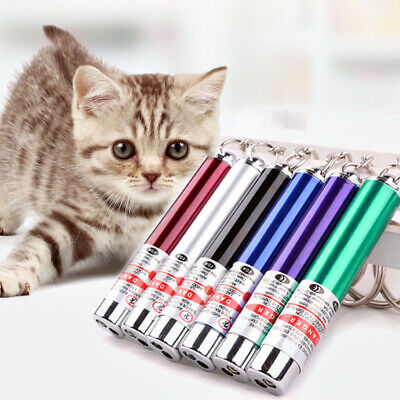 Keychain Laser Pen Cat Pet Toy 2× Mini 3 in1 LED Torch Red Lazer Pointer
