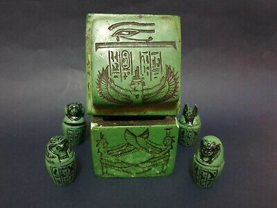 ANCIENT EGYPTIAN Antiques CANOPIC JARS Box Anubis Isis Eye Of Horus Stone BC