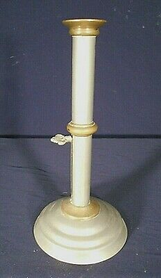 Vintage Early American Pewter And Brass Push Up Candle Stick