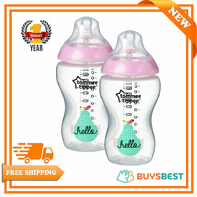 2x Tommee Tippee Pink Hello Closer to Nature Decorated Bottles 340ml - 42263089