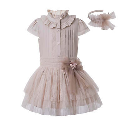 Spanish Flower Lace Girls Outfits Blouse Skirt Ruffled Party Pageant Size 3-12