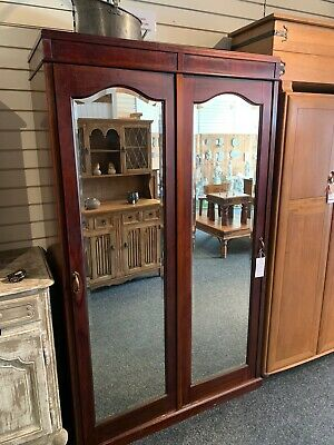 Antique Victorian Mahogany Large Double Mirrored Wardrobe
