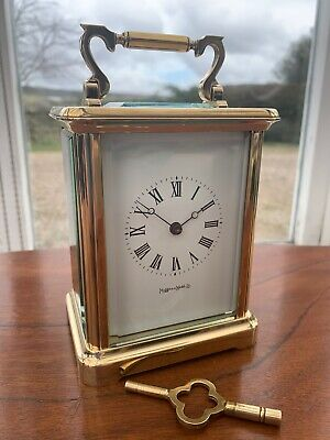MAPPIN & WEBB Brass Carriage Mantel Clock **Larger Version**