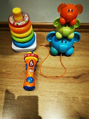 BABY TODDLER TOYS FISHER PRICE Stack pyramid, VTECH sing Mic, Pull along pigs