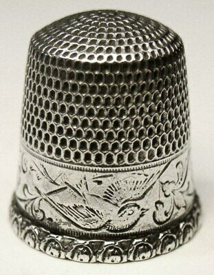 """Antique Goldsmith Stern & Co. Sterling Silver Thimble  """"Flying Bird""""  C1910s"""