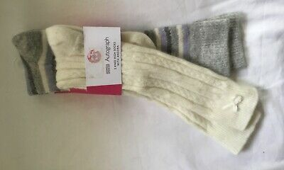 New Marks And Spencer Autograph Girls 2 Knee High Socks Shoe Size Uk 12.5-3.5