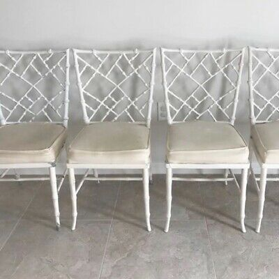 4 Hollywood Regency Phyllis Morris Faux Bamboo Cast Aluminum Chairs