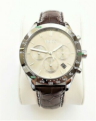 Hugo Boss Watch Mens Gray Dial Leather Band Silver Case HB1513598 Genuine Alfa