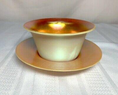 Steuben, Calcite Dessert Cup And Under Plate, Gold Aurene On Calcite White~~~