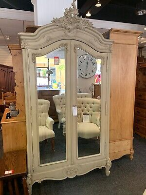 Shabby Chic French Louis XV Style Large Double Wardrobe / Armoire