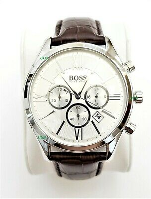 Hugo Boss Watch Mens White Dial Leather Band Silver Case HB1513195 Genuine Alfa