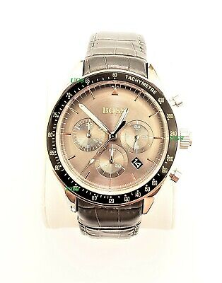 Hugo Boss Watch Mens Gray Dial Leather Band Silver Case HB1513628 Genuine Alfa
