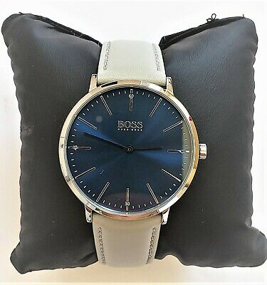 Hugo Boss Watch Mens Black Dial Leather Band Silver Case HB1513625 Genuine Alfa