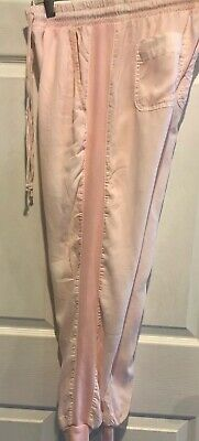 Anthropologie Cloth & Stone Side Cloth Stripe Joggers Tencel  XS Pale Pink READ