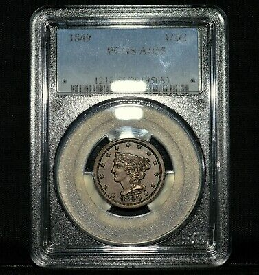 1849 Braided Hair Half Cent ✪ Pcgs Au-55 ✪ 1/2C Almost Uncirculated ◢Trusted◣