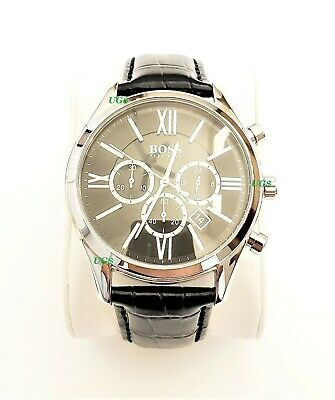 Hugo Boss Watch Mens Black Dial Leather Band Silver Case HB1513194 Genuine Alfa