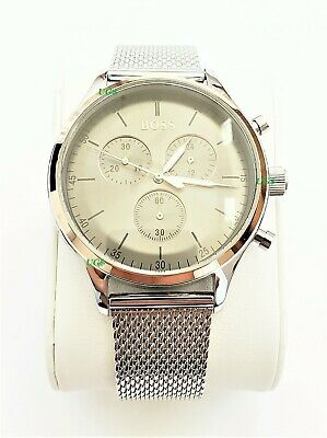 Hugo Boss Watch Mens Gray Dial Silver Band Silver Case HB1513549 Genuine VIP