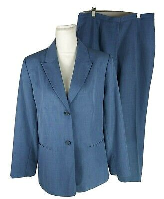 Worthington Women's Pants Suit Size 14 Blue 2 Button Lined Pants Flawed Stained