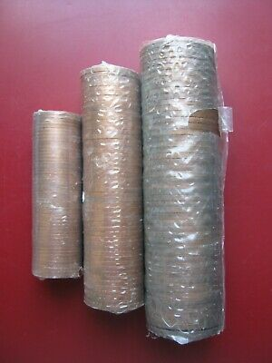 UK 1971 3 Rolls of UNC Half-Penny, Penny & Two 2 Pence - 149 Coins in Total