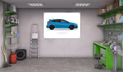 Mk3 Ford Focus RS Garage Workshop A0 Banners Posters - Side View (Choose Colour)