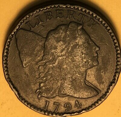 1794 Head of '95 Flowing Hair Large Cent S-72, VF Details, R-2