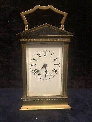 Antique French  Brass & Bevelled Glass Carriage Clock Unusual Shape See Pictures