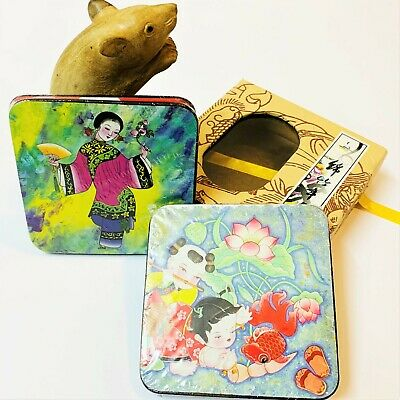 Boxed Set x 4 Chinese Illustrated Coasters, As New, Still Cellophane Wrapped