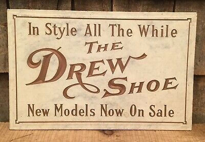 Vintage Engraved 'THE DREW SHOE' Shoe Department Store Display Advertising Sign